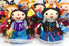 Group of otomi dolls stock photography