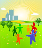 Group outdoors. Togetherness, united symbol Royalty Free Stock Photos