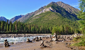 The group Ovoo on travertine River Royalty Free Stock Image