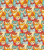 Group owl color seamless pattern Stock Photography