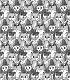 Group owl gray scale seamless pattern Royalty Free Stock Image