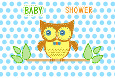 Group of owls on blue dot backgrounds,Design of baby shower cards,Vector Stock Photography