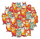 Group owls isolate on white Stock Image