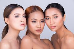 Group Pack Beautiful Clean Skin three Asian Woman stock photography