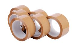 Group of packing tapes. Group of brown packing tapes on white background