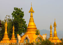 Group pagoda golden. In thailand Royalty Free Stock Image