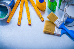 Group of paint objects with duct tapes and wooden Royalty Free Stock Image