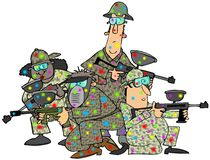Group of paintballers. This illustration depicts 3 men and a woman in camouflage, carrying paintball guns and covered with colored splotches Royalty Free Stock Photography