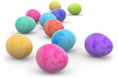Group of painted easter eggs isolated on white Royalty Free Stock Image