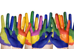 Group of painted hands Stock Photo