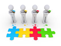 Group of painters connection concept. 3d people as painters and different colored puzzle pieces connected Stock Image