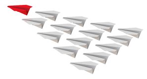 Group of paper airplanes with a leader. White paper planes and one red are flying in group. Isolated. 3D Illustration Royalty Free Stock Image