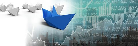 Group of Paper boats on statistic charts. Digital composite of Group of Paper boats on statistic charts Royalty Free Stock Images