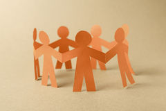 Group of paper chain people Stock Images
