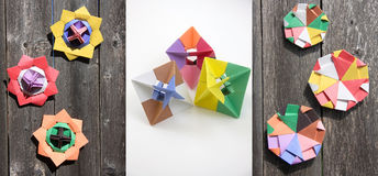 A group of paper colored spinning  tops Stock Photo
