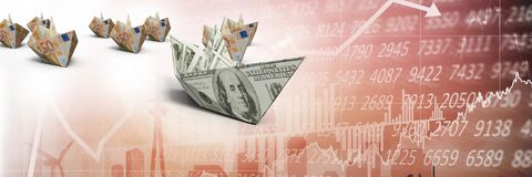 Group of Paper money boats on statistic charts Royalty Free Stock Photo