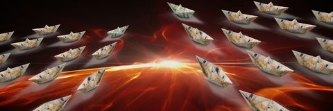Group of Paper money dollar boats in fire. Digital composite of Group of Paper money dollar boats in fire Royalty Free Stock Images