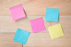 Group of paper or notepad stick on wood board Royalty Free Stock Photography