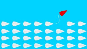 Group of paper plane in one direction and one pointing in different way on blue background royalty free illustration