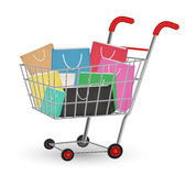 Group of a paper shopping bag on a shopping cart Royalty Free Stock Photo