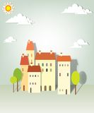 Group paper townhouses. Creative  applique Stock Photo