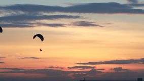 Group of paraglider activity fly with beautiful sunset background Royalty Free Stock Images