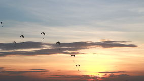 Group of paraglider activity fly with beautiful sunset background Stock Photography