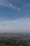 Group of paragliders. Over Bornes (north Portugal, Europe) landscape royalty free stock photography