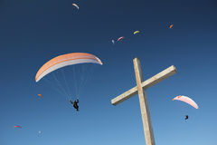Group of paragliders, mountain cross Stock Image
