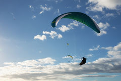 Group of paragliding flying Stock Images