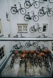 The group parked the bikes at the house royalty free stock photos