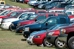 Group of parked cars Stock Images