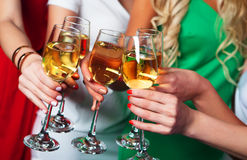 Group of partying girls clinking flutes with sparkling wine. Close up Stock Photography