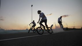Group of passionate bikers performing various tricks on bicycles smoke coming out of their wheels. At the sunset concept of passion for biking stock footage