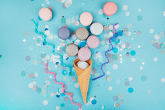 Group of pastel colorful macarons on trendy background Royalty Free Stock Photos