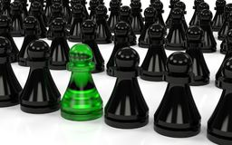 The group of pawns. One of them different. 3D rendering Stock Images