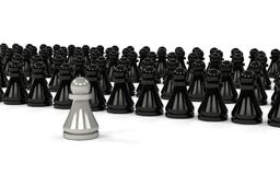 The group of pawns. One of them different. 3D rendering Stock Photos