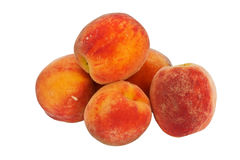 Group of peaches isolated on white background Stock Photo