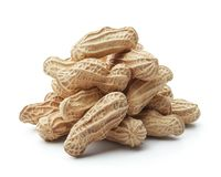 Group of peanuts. Isolated on white background royalty free stock images