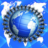Group peaple on globe blue planet Stock Photography