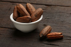 Group of pecan nuts in a bow Stock Images