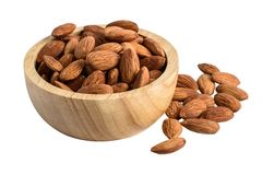 Group of Peeled almonds in wooden bowl Royalty Free Stock Image