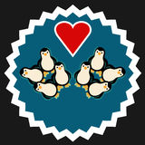 Group of penguins with heart Royalty Free Stock Photos
