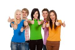 Group of people. Group of young people students happy smile isolated over white Stock Photo