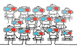 Group of people with 3D glasses. Hand drawn cartoon characters royalty free illustration