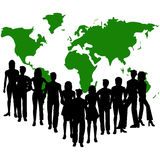 Group of people. Silhouettes of people and a map of the world - additional ai and eps format available on request Royalty Free Stock Images