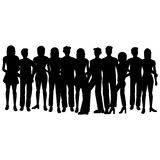 Group of people. Silhouettes of people - men and women - additional ai and eps format available on request Royalty Free Stock Photo