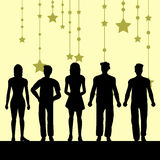Group of people. Silhouettes of people with stars- additional ai and eps format available on request royalty free illustration