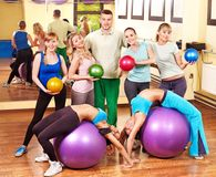 Group people in aerobics class. Happy group people in aerobics class Stock Images