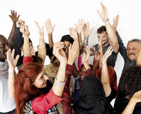 Group of people arms raised and celebration Royalty Free Stock Image